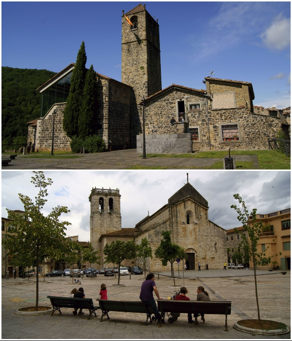 На краю утеса расположена городская площадь со средневековыми постройками (Castellfollit de la Roca, Испания). | Фото: masterok.livejournal.com.