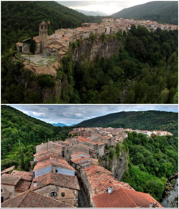 Городок на скале Кастельфольит-де-ла-Рока – одно из самых красивых и необычных мест Испании. | Фото: catalunya.ru/ uatraveller.com.