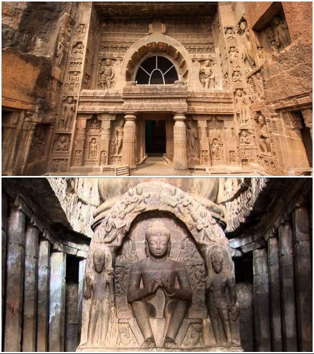 Статуи Будды и филигранные резные узоры украшают буддистские монастыри, созданные в глубине скал (Эллора, Индия).
