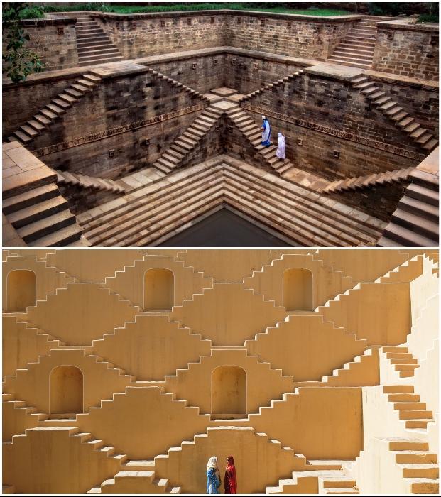 Для создания ступенчатых колодцев требовались тщательные расчеты (Индия).