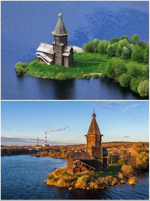 Успенская церковь 4 раза перестраивалась и такой вид имела, начиная с 1774 г. (Кондопог, Карелия).   Фото: flashnord.com/ klin-demianovo.ru.