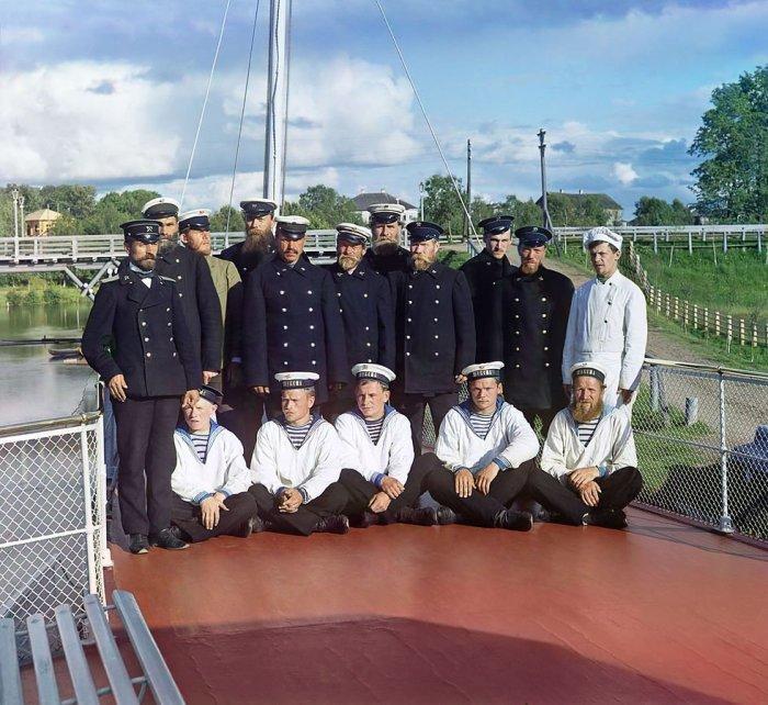 Команда парохода «Шексна» (М.П.С.) Российская Империя, 1909 г.| Фото: Библиотека Конгресс США