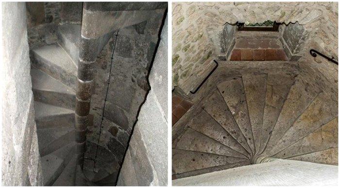 Спиральная лестница средневекового замка - большая проблема для его захватчика. /Фото: fishki.net