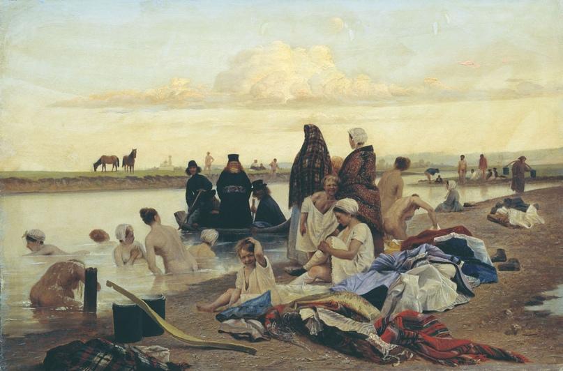 """1870-е Лев Соловьев - Монахи. Не туда заехали. (некоторые ее знают , как """"Картина Репина """"Приплыли"""")"""