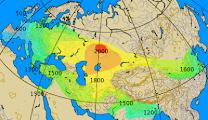 Рис. 2. Карта распространения колесниц вместе с миграциями ариев